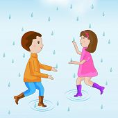 Cute little kids trying to escape in rain falling blue background.