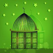 Beautiful mosque on stars decorated greeting card design for Muslim community festival Eid Mubarak c