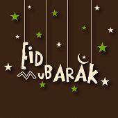 Hanging stylish text Eid Mubarak on stars decorated brown background for the occasion of muslim comm
