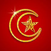 Golden crescent moon with arabic islamic calligraphy of text Eid Mubarak in star shape on red backgr