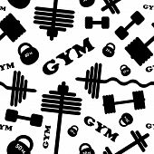 Gym. Seamless vector pattern.