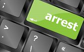 Arrest Word On Computer Pc Keyboard Key