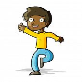 cartoon excited boy dancing