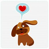cute cartoon dog is thinking to love - vector illustration