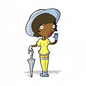 cartoon woman in summer hat waving