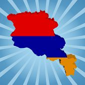 Armenia map flag on blue sunburst illustration