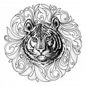 Tiger face black and white abstract decoration