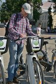 MOSCOW, RUSSIA - JULY 1, 2014: New bike rental system sponsored by Sberbank. The project aimed to cr