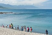TAITUNG, TAIWAN - JUN 22th : Famous scenery at Taiwan east coast, Sanxiantai, with many tourists on