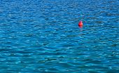 red buoy and blue sea