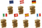Different European flag toothpicks on Wholemeal, wholewheat brown bread (1st row : Flag of European