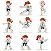 picture of karate  - A vector illustration of different poses of karate kid - JPG