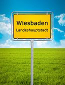 An image of the city sign of Wiesbaden