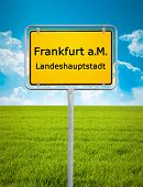 An image of the city sign of Frankfurt