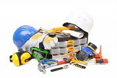 Safety gear kit with tool box.