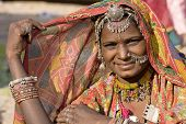 pic of rajasthani  - Portrait of a India Rajasthani woman closeup - JPG