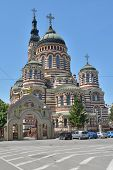 KHARKOV, UKRAINE - JUNE 5, 2014: Annunciation Cathedral in a sunny day. Built in 1901 by Michael Lovtsov, now it's the main church of Kharkov and Bogodukhov eparchy