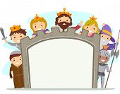 Illustration of Kids in Medieval Costumes Holding a Board