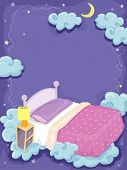 Background Illustration of a Bed Surrounded by Clouds and Stars