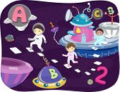 stock photo of outer  - Illustration of Kids Walking Around the Outer Space - JPG