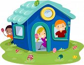 Illustration of Kids Hunting Easter Eggs in a Miniature House