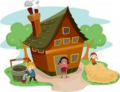 Illustration of Kids Doing Different Tasks Outside a Farm House