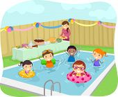 Illustration of Kids Having a Pool Party in Their Yard