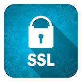 ssl flat icon, christmas button