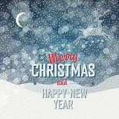 Merry Christmas Card. Calm Winter Scene Illustration