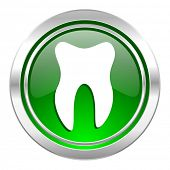 tooth icon, green button