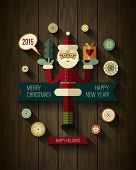 Flat design concepts for Merry Christmas and Happy New Year card