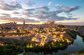 Toledo Cityscape with Alcazar in Madrid Spain