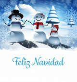 Feliz navidad against snow man family