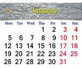 Calendar For January Of 2015 With Layer Of Snow
