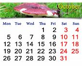 Calendar For October Of 2015 With Mushroom Russula