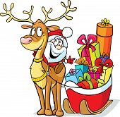 Santa Sits On A Reindeer Drags Sleigh Full Of Gifts