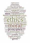 picture of ethics  - word or tag cloud of ethics morals and values words - JPG