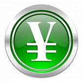 yen icon, green button