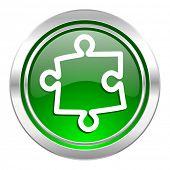 puzzle icon, green button
