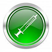 medicine icon, green button, syringe sign