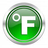fahrenheit icon, green button, temperature unit sign
