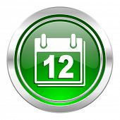 calendar icon, green button, organizer sign, agenda symbol