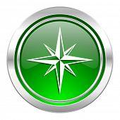 compass icon, green button