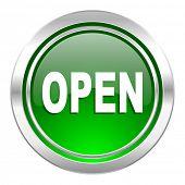 open icon, green button