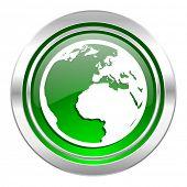 earth icon, green button, world sign