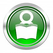 book icon, green button, reading room sign, bookshop symbol