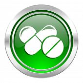 medicine icon, green button, drugs symbol, pills sign