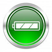 battery icon, green button, charging symbol, power sign