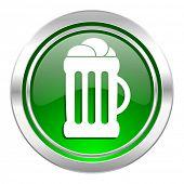 beer icon, green button, mug sign