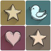 Set Of Drawn Star Icon